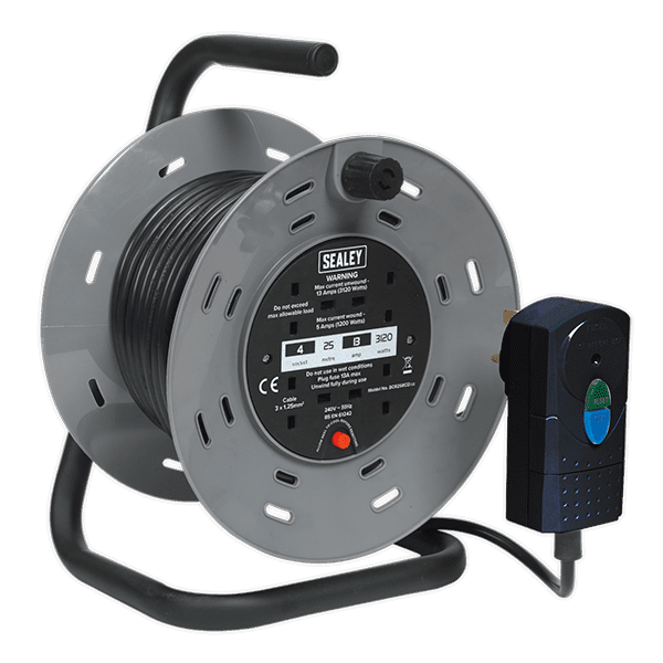 Sealey BCR25RCD - Cable Reel 25mtr with RCD Plug 2 x 230V