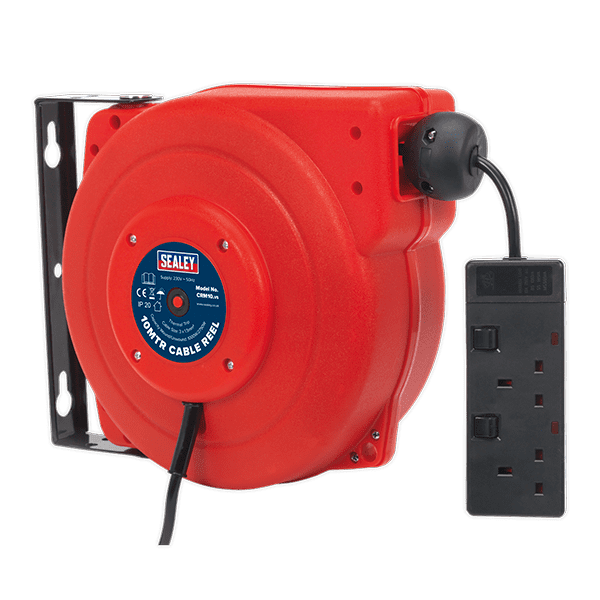 Sealey CRM10 - Cable Reel System Retractable 10mtr 2 x 230V Socket