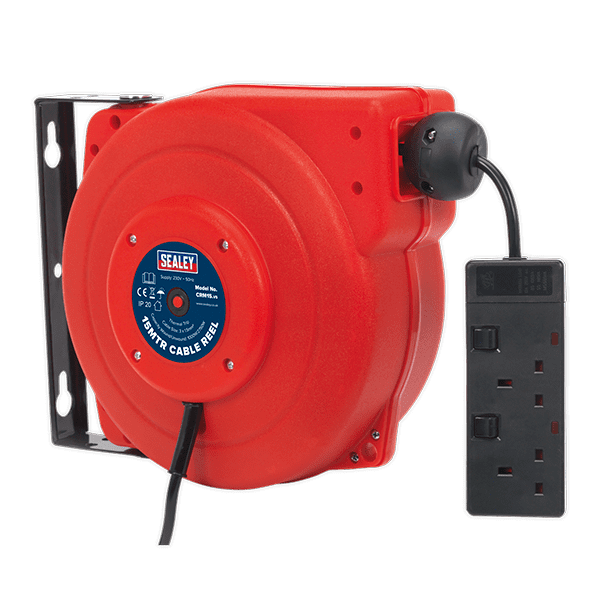 Sealey CRM15 - Cable Reel System Retractable 15mtr 2 x 230V Socket