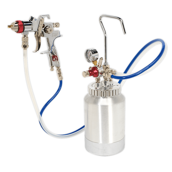 Sealey HVLP-79/P - HVLP Pressure Pot System with Spray Gun & Hoses 1.7mm Set-Up