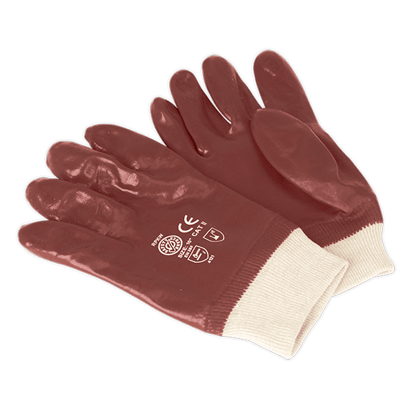 Sealey SSP31 - PVC Chemical Handling Gloves Knitted Wrist Pair