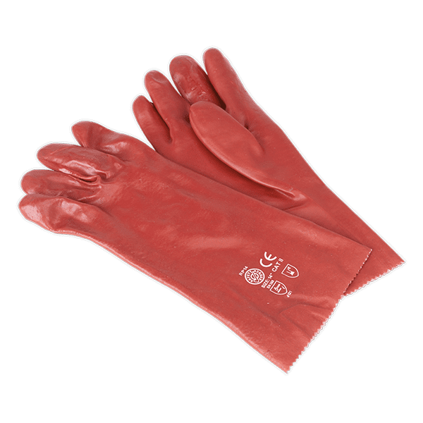 Sealey SSP32 - PVC Chemical Handling Gauntlets 355mm Cuffed Pair