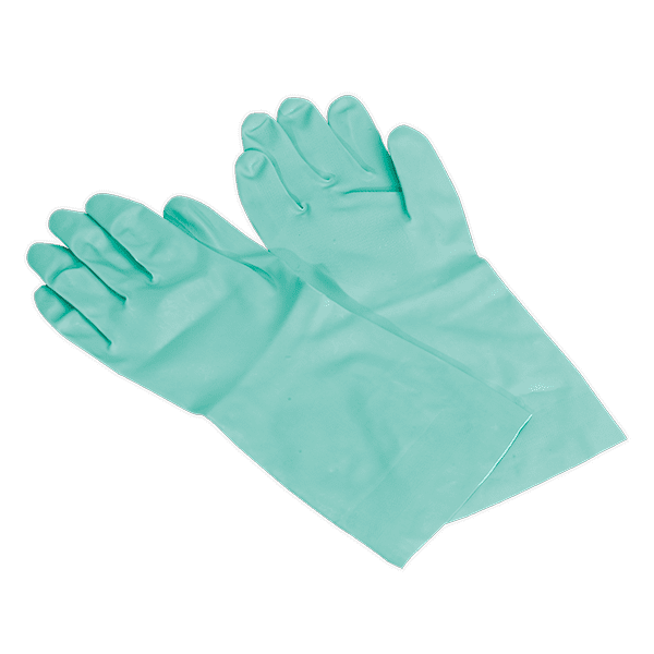 Sealey SSP34 - Nitrile Gauntlets for use with Thinners 355mm Cuffed Pair